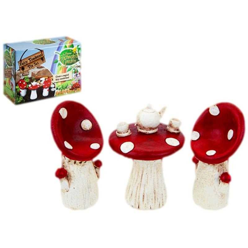 Fairy Garden Toadstool Tea accessory set ~ Table and Chairs