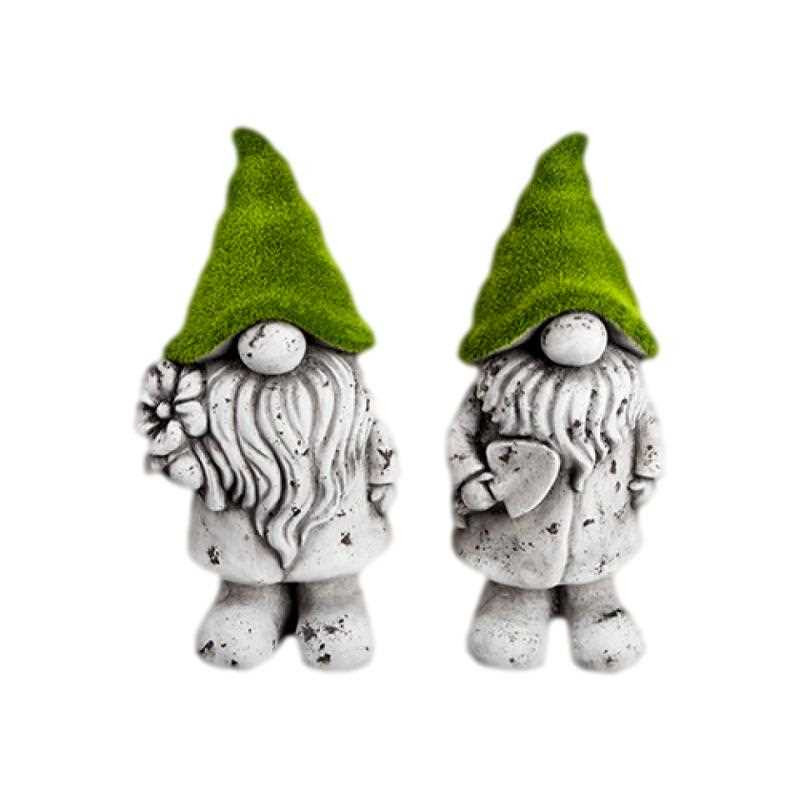 Pixieland Flock and Antique Stone Effect Gnome Garden Ornament