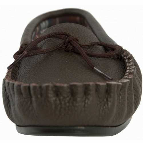 leather brown moccasin