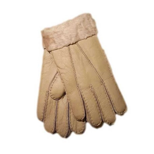 Ladies Genuine Nappa Leather with Sheepskin Lining and Cuffed Gloves - nat