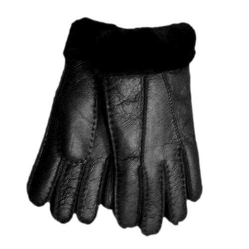 Genuine Ladies Soft Nappa Leather Sheepskin Lined Gloves - Black