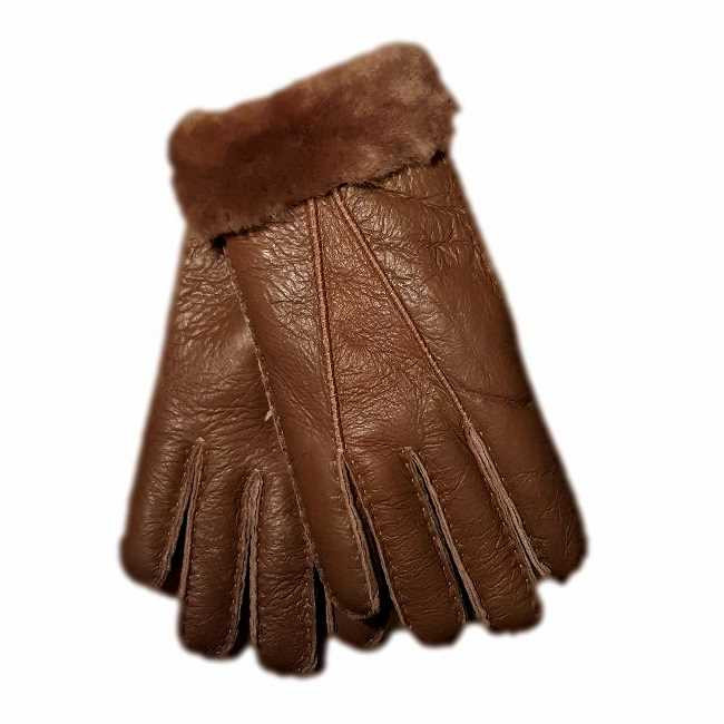 Ladies Genuine Nappa Leather with Sheepskin Lining and Cuffed Gloves - chocolate