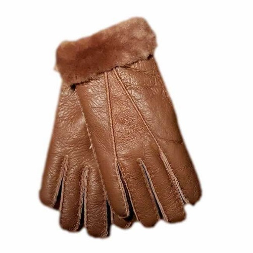 Genuine Ladies Soft Nappa Leather Sheepskin Lined Gloves  -Brown