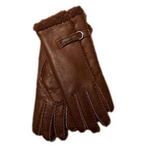 Ladies Leather luxury gloves, Buckle and wool out trim design - brown