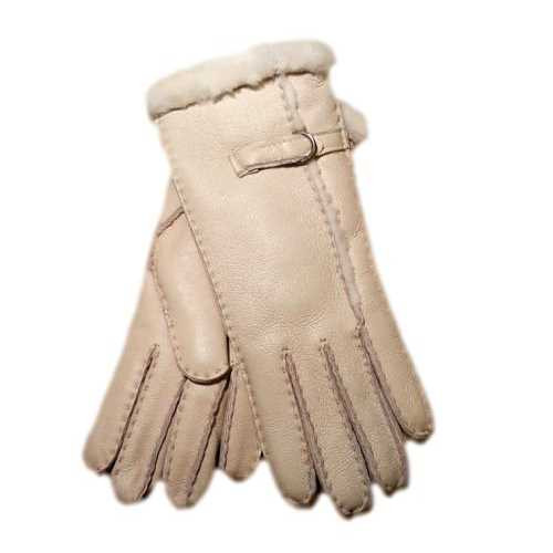Ladies Leather luxury gloves, Buckle and wool out trim design - Nat