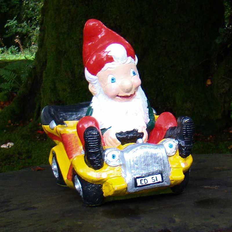 Hot Rod Garden Gnome Yellow Front