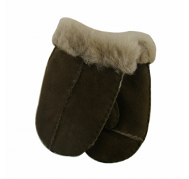 Childrens Chocolate Sheepskin Mittens