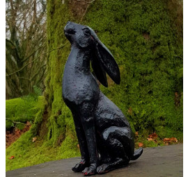 Bronze moon gazing hare