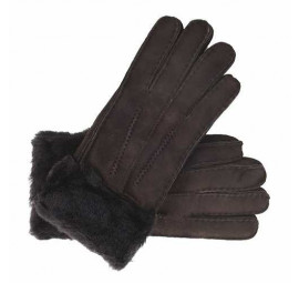 Ladies Genuine Sheepskin Chocolate Brown cuffed Panel Gloves