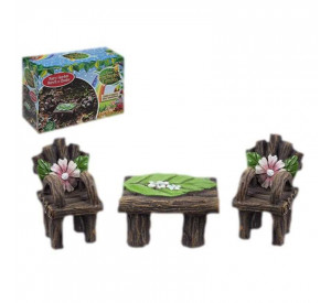 Fairy Garden Woodland Bench and Chair Set