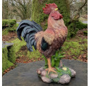 Supersized Colourful Standing Rooster Resin Ornament