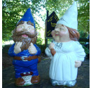 Made to order wedding garden gnomes blue suit