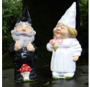Made to order wedding garden gnomes White and Pink Bride