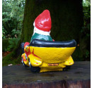 Hot Rod Garden Gnome Yellow Rear