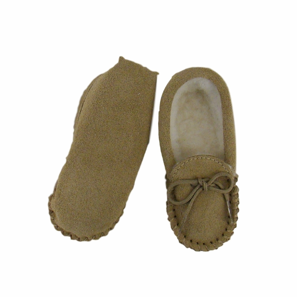 Childrens Childs Suede Amp Wool Lined Moccasins With