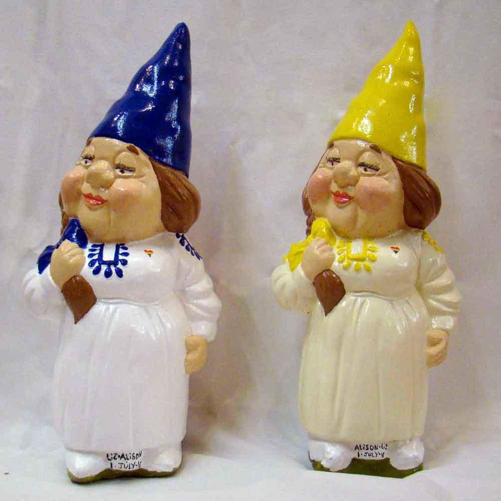 blue bride and lemon bride gnomes