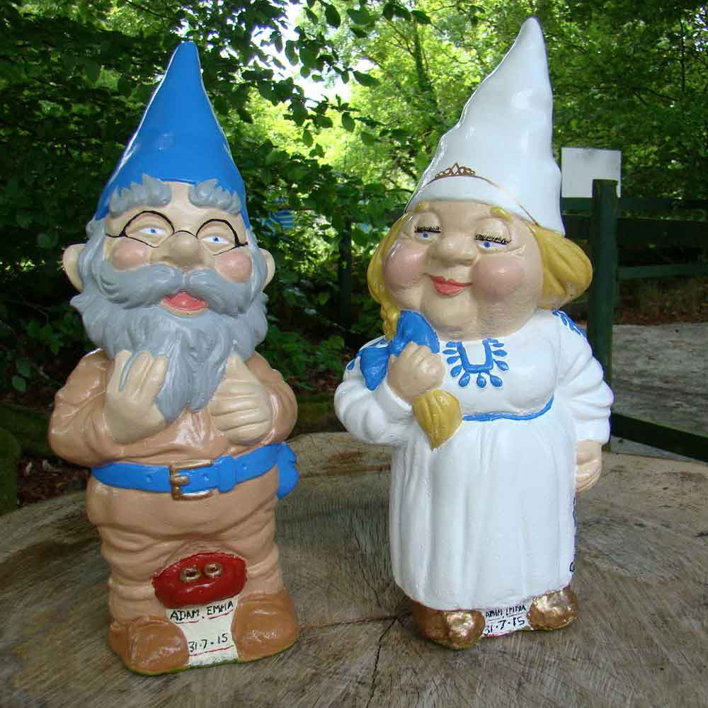 beige and blue groom wedding couple gnomes
